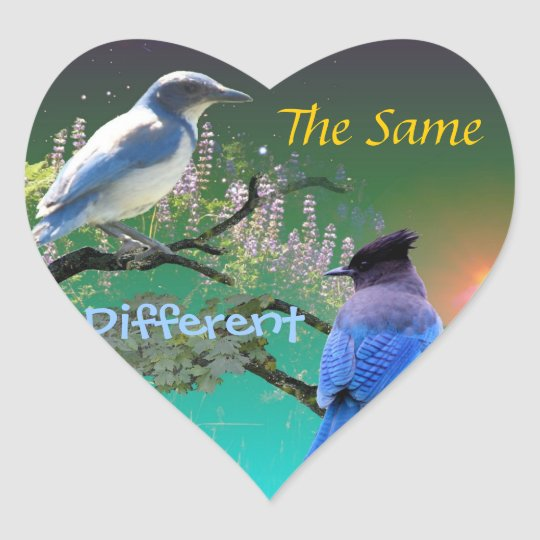 The Same & Different Heart Sticker