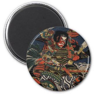The samurai warriors Tadanori and Noritsune 6 Cm Round Magnet