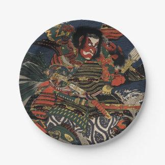 The samurai warriors Tadanori and Noritsune 7 Inch Paper Plate