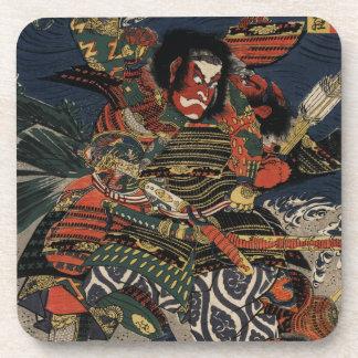 The samurai warriors Tadanori and Noritsune Drink Coaster