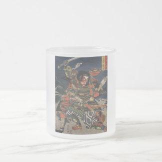 The samurai warriors Tadanori and Noritsune Frosted Glass Mug