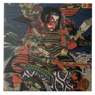 The samurai warriors Tadanori and Noritsune Large Square Tile