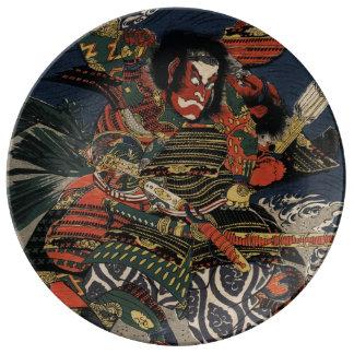 The samurai warriors Tadanori and Noritsune Porcelain Plates