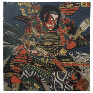 The samurai warriors Tadanori and Noritsune Printed Napkin