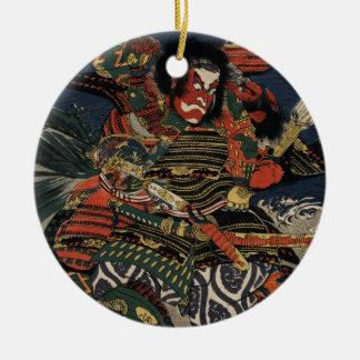 The samurai warriors Tadanori and Noritsune Round Ceramic Decoration