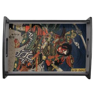 The samurai warriors Tadanori and Noritsune Service Trays