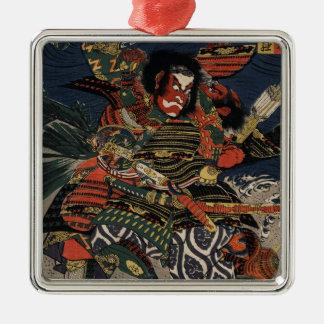 The samurai warriors Tadanori and Noritsune Silver-Colored Square Decoration