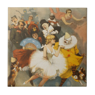 The Sandow Trocadero Vaudevilles, 1894 Poster Small Square Tile