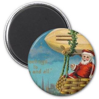 The Santa Blimp 6 Cm Round Magnet