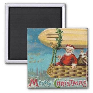 The Santa Blimp Square Magnet