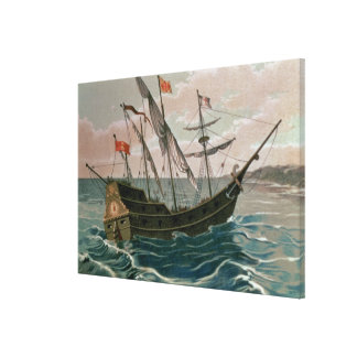 The Santa Maria Approaching the Coast of the New W Canvas Print