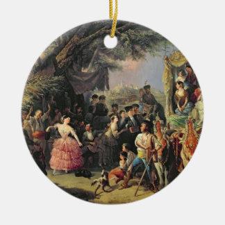 The Santiponce Fair (oil on canvas) Round Ceramic Decoration