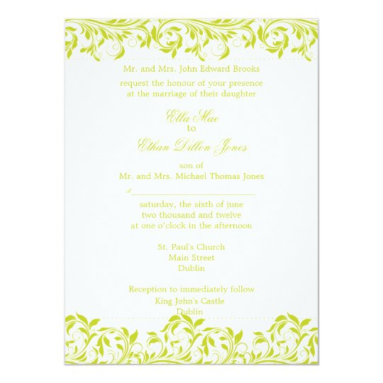 The Sarah Jane Lime and white wedding invitation