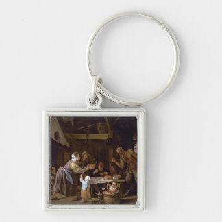 The Satyrs and the Family Silver-Colored Square Key Ring
