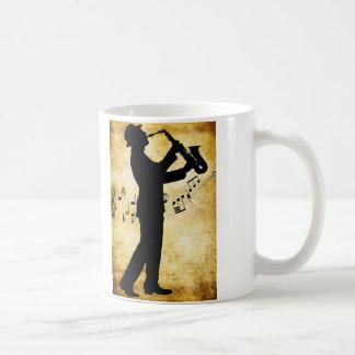 The sax player mug. basic white mug