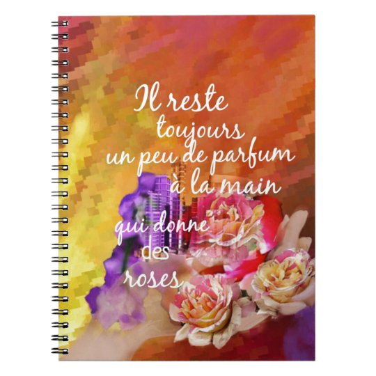 The scent of the roses still remains in the hand. notebook