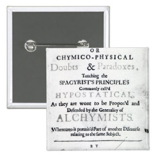 'The Sceptical Chymist' 15 Cm Square Badge