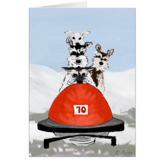 The Schnauzer Bobsleighing Team Greeting Card