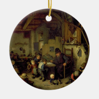The School Master, c.1662 (oil on panel) Round Ceramic Decoration