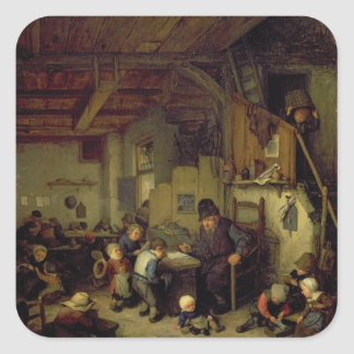 The School Master, c.1662 (oil on panel) Square Sticker