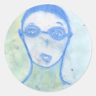 The Scientist, Chalk Drawing, Art Round Sticker