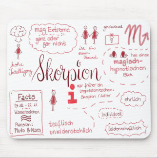 The scorpio lady - as sketch note mouse mat