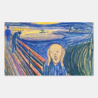 The Scream by Edvard Munch (in pastel) Modern Art Rectangular Sticker