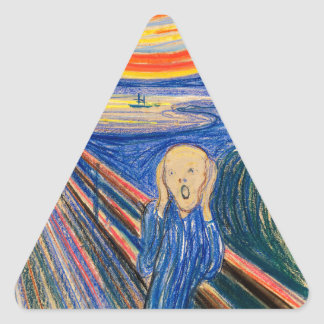 The Scream by Edvard Munch (in pastel) Modern Art Triangle Stickers
