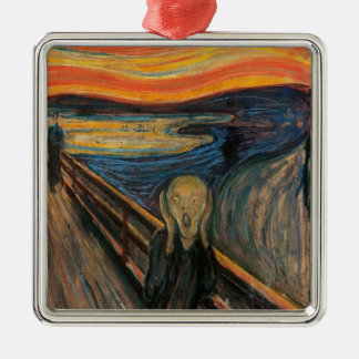 The Scream by Edvard Munch Silver-Colored Square Decoration