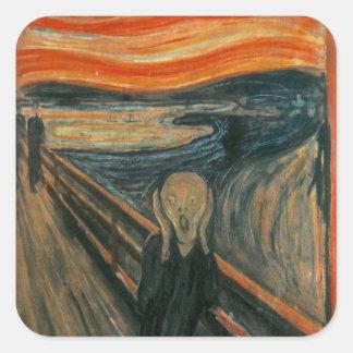 The scream by Edvard Munch,symbolist painter Square Sticker