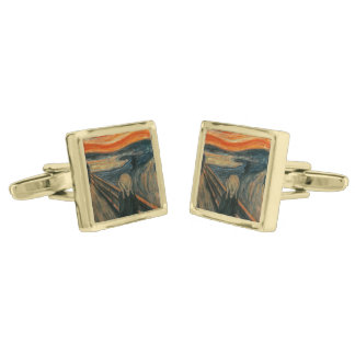 The Scream - Edvard Munch Gold Finish Cufflinks