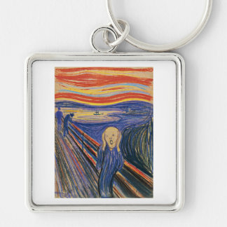 The Scream (pastel 1895) High Quality Silver-Colored Square Key Ring