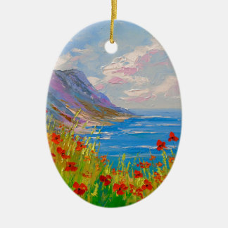 The sea and poppies christmas ornament