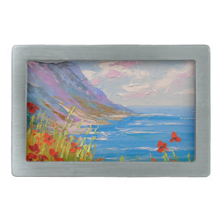 The sea and poppies rectangular belt buckles