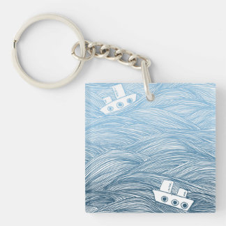The Sea and the Ship Double-Sided Square Acrylic Key Ring