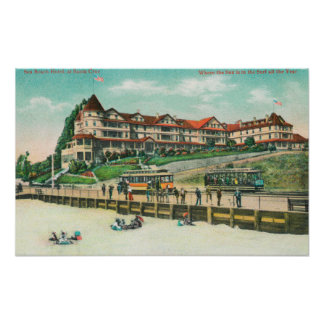 The Sea Beach Hotel from the Beach Poster