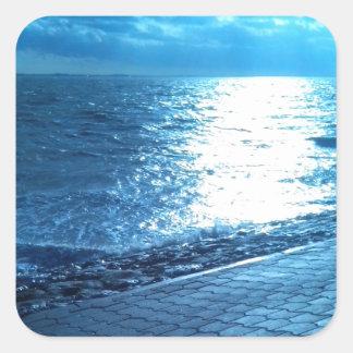 The Sea Shore, Serenity Blue Nature Photo Square Sticker