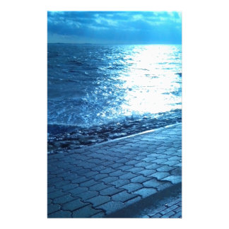 The Sea Shore, Serenity Blue Nature Photo Stationery Paper