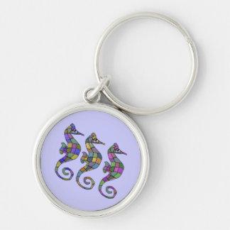 The Seahorse Rainbow Silver Keychain