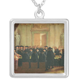 The Seal Held by Louis XIV  before Members Silver Plated Necklace