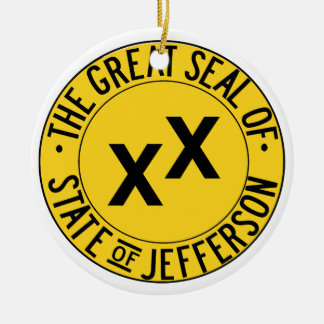 The Seal of the State of Jefferson Round Ceramic Decoration
