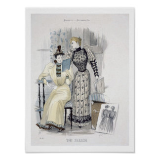 The Season, fashion plate for 'The Queen', Septemb Poster