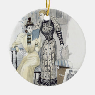 The Season, fashion plate for 'The Queen', Septemb Round Ceramic Decoration