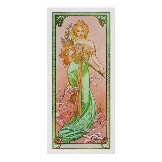 The Seasons: Spring Printemps, 1900 Alphonse Mucha Poster