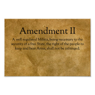 The Second Amendment to the U.S. Constitution Poster
