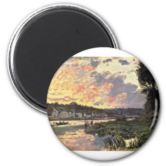 The Seine at Bougival in the Evening (1870) 6 Cm Round Magnet
