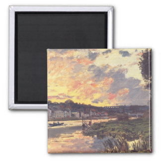 The Seine at Bougival in the Evening Square Magnet