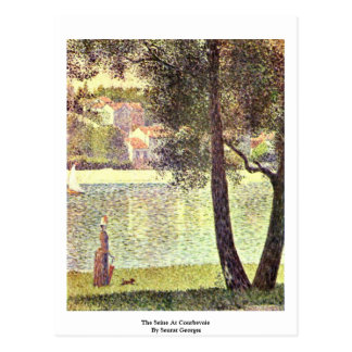 The Seine At Courbevoie By Seurat Georges Postcard