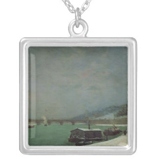 The Seine at the Pont d'Iena, Winter, 1875 Silver Plated Necklace
