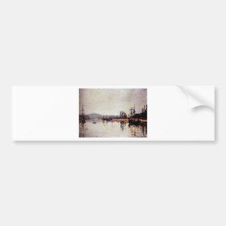 The Seine Below Rouen by Claude Monet Bumper Sticker
